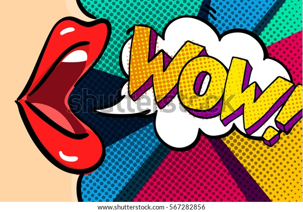 Open mouth and WOW Message in pop art style, promotional background, presentation poster. Flat design, vector illustration.