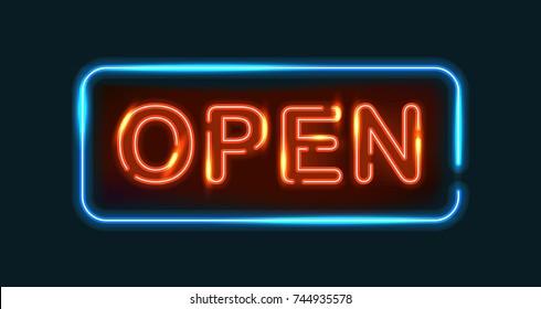 Open neon sign vector illustration on dark background.
