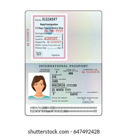 Blank Passport Page Images, Stock Photos & Vectors