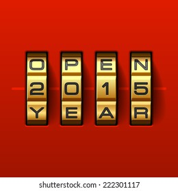 Open new 2015 year card. Combination lock. Vector.