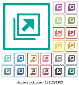 Open in new window flat color icons with quadrant frames on white background
