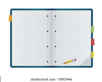 An open notebook with pencil, isolated on a white background. Editable vector illustration.