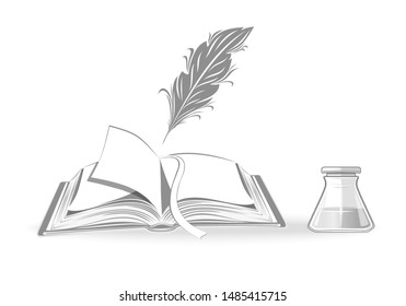 Open notebook, quill and inkwell. Set of black and white monochrome icons. Poetry and literature. Vintage concept design. Vector illustration