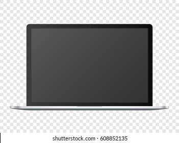 Open notebook template, black digital portable computer concept with empty screen and camera, on transparent background, vector quality detailed illustration.