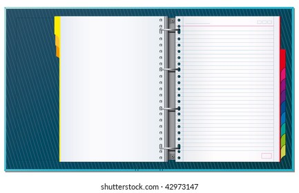 Open office binder with paper tabs and blank pages to write your own text