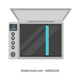 Open office scanner and illustration on white office scanner