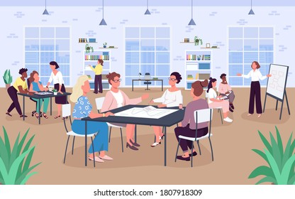 Open office space flat color vector illustration. Workplace. Business ladies. Women work in comfortable environment. 2D cartoon faceless characters with big windows and bookshelves on background