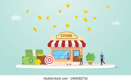 open offline store or shop business building concept with team people and money with modern flat style - vector