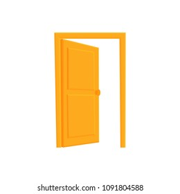 open out door yellow. Vector flat illustration in cartoon style isolated on white background.