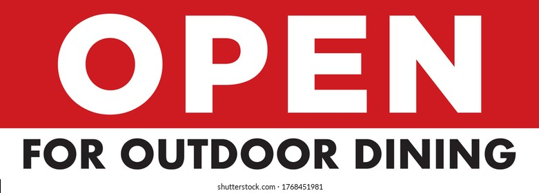 Open For Outdoor Dining Banner | Vector Layout for Restaurants Advertising Patio Seating