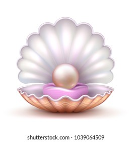 Open oyster sea shell with valuable pearl isolated. Realistic 3d vector illustration. Pearl and shell, valuable treasure shine