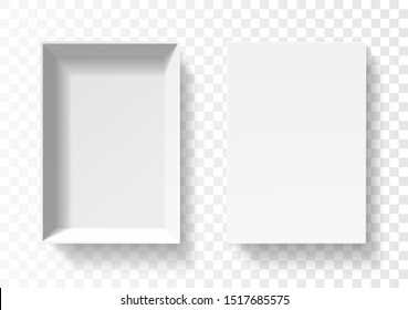 Open pack box for phone . Empty cardboard container template. 3d top view illustration with transporented shadow isolated on white. Blank space inside pakage mockup. Closeup realistic vector object.