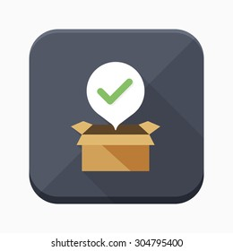 Open package icon - vector , eps10 (flat icon , long shadow)