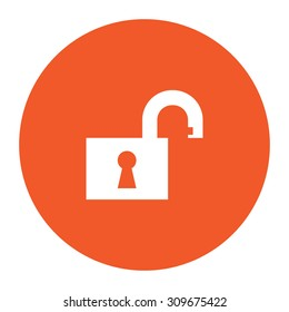 Open padlock. Flat white symbol in the orange circle. Vector illustration icon
