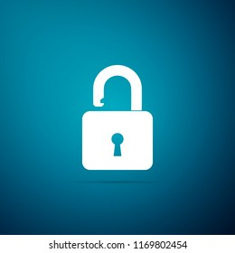 Open padlock icon isolated on blue background. Lock symbol. Flat design. Vector Illustration