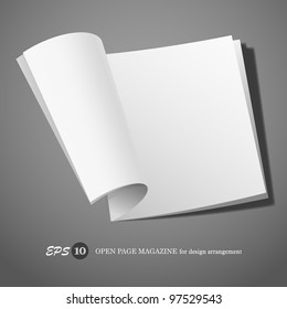 Open page magazine for design arrangement