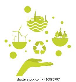 Open Palm Green Energy Icon Concept Logo Vector Illustration