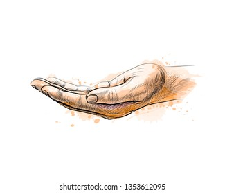 Open palm hand gesture from a splash of watercolor, hand drawn sketch. Vector illustration of paints