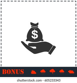 Open Palm Hold Money Bag icon flat. Simple vector symbol and bonus icon