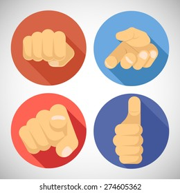Open Palm Pleading Giving Pointing Finger Tumbs up Like Punchinf Fist Icon Symbols Concept Flat Design Vector Illustration