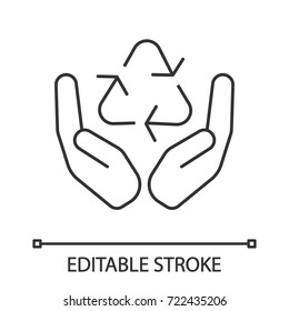 Open palms with recycling sign linear icon. Pollution prevention. Thin line illustration. Waste recycling. Contour symbol. Vector isolated outline drawing. Editable stroke