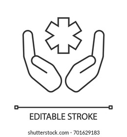 Open palms with star of life linear icon. Health care. Thin line illustration. Medical services. Contour symbol. Vector isolated outline drawing. Editable stroke