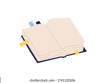 Open paper book with empty pages and colorful bookmarks vector illustration. Colored notebook with stickers isolated on white background. Textbook or organizer in hardcover