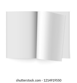 Open paper journal. Vector mock up of booklet isolated. Opened vertical magazine, brochure or notebook template on white background. Magazine with rolled white paper pages. Mockup book with soft cover