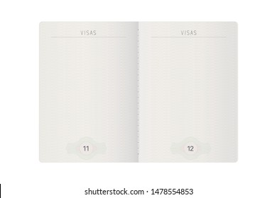 Open passport mock up. Blank pages. Vector illustration isolated on white background