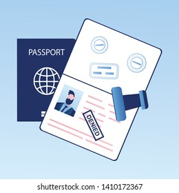 Open passport with stamp -denied, visa denial or deportation,problem with immigration, trendy style vector illustration