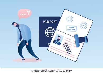 Open passport with stamp -denied,unhappy male character, man immigrant,visa denial or deportation,problem with immigration, trendy style vector illustration