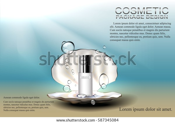 The open pearl shell with a bottle of cosmetics for skin care, under the water. Template advertising, design, poster, and more.Vector illustration.