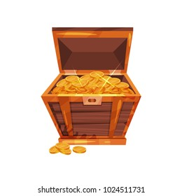 Open pirate chest full of golden coins. Shiny treasures in old wooden box. Symbol of wealth/riches. Cartoon flat vector design for gaming interface