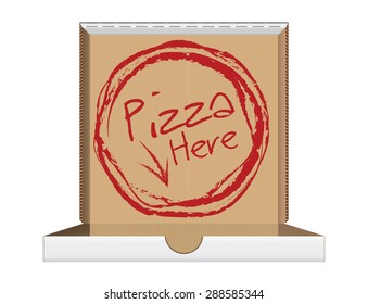 Open pizza box with message, vector illustration