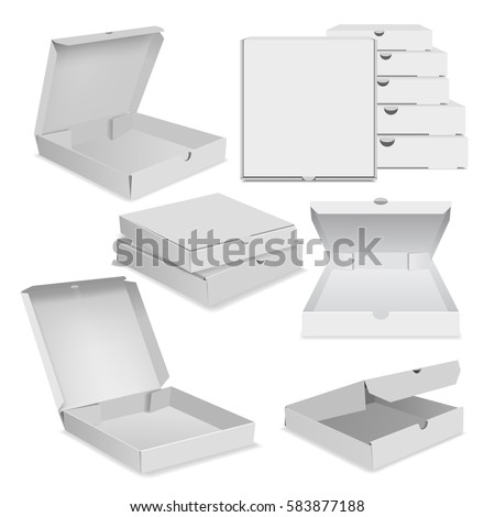 Open Pizza Box Template Mockup Set Stock Vector Royalty Free