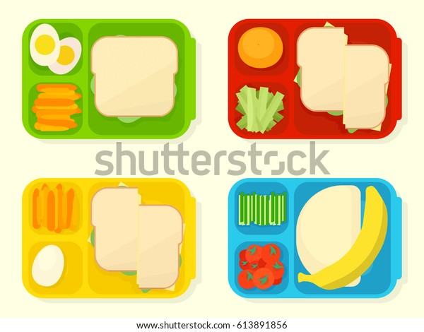Open plastic school lunch box. Vector clipart  isolated on white background