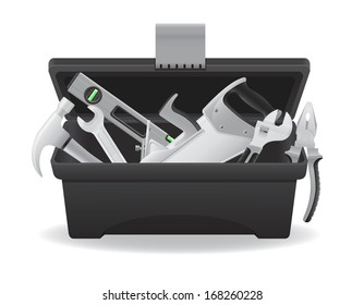 open plastic tool box vector illustration isolated on white background