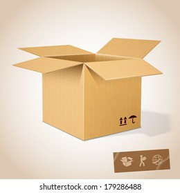 Open realistic cardboard box vector illustration
