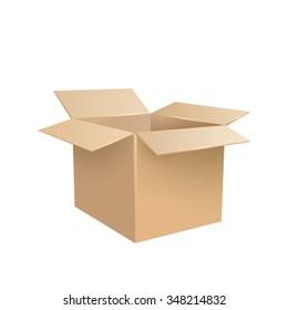 Open realistic cardboard box. Vector illustration