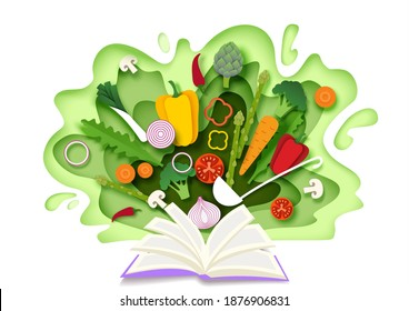 Open recipe book with fresh vegetables. Vector illustration in paper art style. Cooking ingredients. Paper cut kohlrabi, broccoli, onion, carrot, tomato, mushrooms, red and yellow pepper. Cooking book