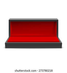 Open rectangular box for jewelry with a red interior on a white background