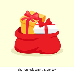 Open red bag full of Christmas presents vector solated on white background. Cartoon Santa's sack with gift boxes for congratulation at holidays