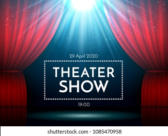 Open red curtains on stage illuminated by spotlight. Dramatic theater or opera show scene. Performance showtime billboard. Broadway entertainment vector backdrop