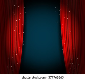 open red curtains theater background with glittering stars