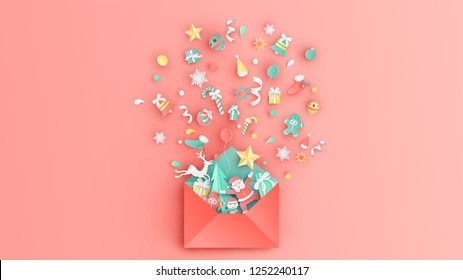Open red envelope with Christmas ornaments splash out. Christmas greeting card design. Graphic design for Christmas. paper cut and craft design. vector, illustration.