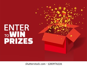 Open Red Gift Box and Confetti With Colorful Particles. Enter to Win Prizes. Lottery Drawing Advertising Banner Template. Vector Illustration, Isolated