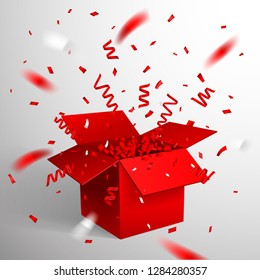 Open Red Gift Box and Confetti. Christmas and Valentine Background. Vector Illustration.