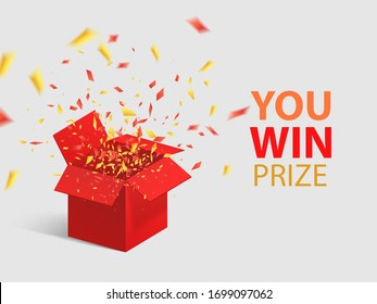 Open Red Gift Box and Confetti. You Win Prize. Vector Illustration.