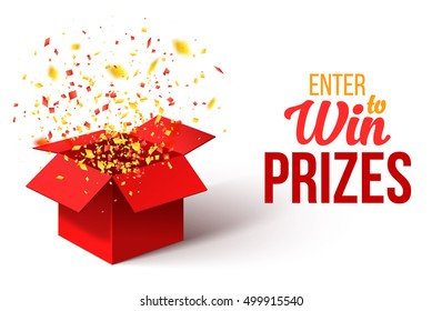 Open Red Gift Box and Confetti. Enter to Win Prizes. Vector Illustration.  sc 1 st  Shutterstock : exploding gift box confetti - princetonregatta.org