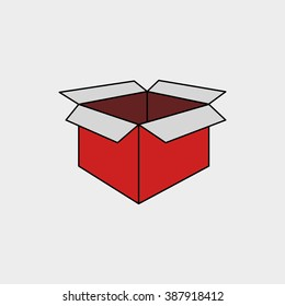 Open Red Gift Box. Mockup template. Vector Illustration